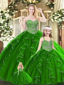 Green Lace Up Quinceanera Gowns Beading and Ruffles Sleeveless Floor Length