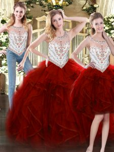 High Class Floor Length Wine Red Sweet 16 Dress Tulle Sleeveless Beading and Ruffles
