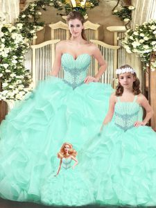 Free and Easy Aqua Blue Sweetheart Neckline Beading and Ruffles Sweet 16 Dresses Sleeveless Lace Up