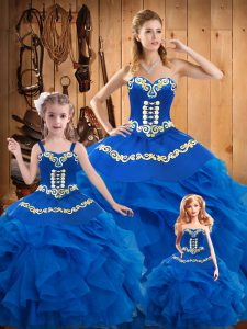 Cute Floor Length Blue Quinceanera Gowns Sweetheart Sleeveless Lace Up