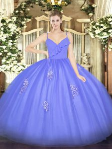 Best Blue Tulle Zipper Spaghetti Straps Sleeveless Floor Length Ball Gown Prom Dress Appliques
