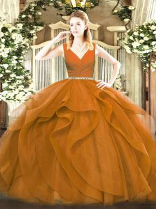 Brown Sleeveless Floor Length Beading and Ruffles Zipper Quinceanera Gowns