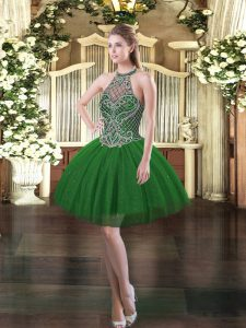 Sleeveless Mini Length Beading Lace Up Prom Evening Gown with Dark Green