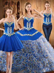 Gorgeous Multi-color Sleeveless With Train Embroidery Lace Up Quinceanera Dress