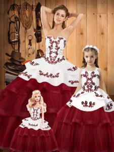 Designer Embroidery Sweet 16 Dresses Wine Red Lace Up Sleeveless Sweep Train