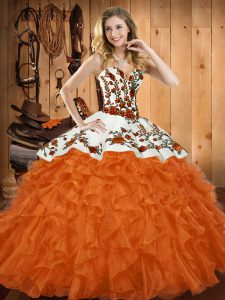 Fabulous Sweetheart Sleeveless Organza Vestidos de Quinceanera Embroidery and Ruffles Lace Up