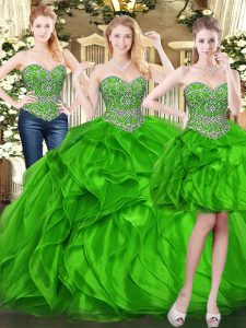 Perfect Sweetheart Sleeveless Lace Up 15th Birthday Dress Green Organza