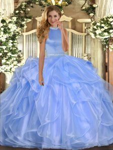 Blue Sleeveless Floor Length Beading and Ruffles Backless Sweet 16 Dress