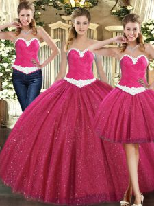 Fuchsia Ball Gown Prom Dress Military Ball and Sweet 16 and Quinceanera with Ruching Sweetheart Sleeveless Lace Up