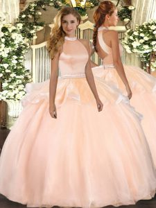 Peach Ball Gowns Beading and Ruffles Sweet 16 Dresses Backless Tulle Sleeveless Floor Length