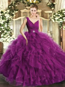 Exquisite Fuchsia V-neck Backless Beading Ball Gown Prom Dress Sleeveless
