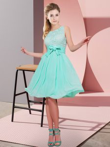 Knee Length Side Zipper Quinceanera Court Dresses Apple Green for Prom and Party with Lace and Bowknot