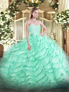 Apple Green Ball Gown Prom Dress Sweetheart Sleeveless Brush Train Lace Up