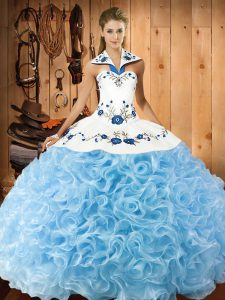 Glorious Baby Blue Fabric With Rolling Flowers Lace Up Quinceanera Gown Sleeveless Floor Length Embroidery