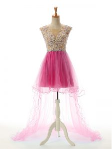 On Sale Scoop Sleeveless Tulle Prom Gown Appliques Backless