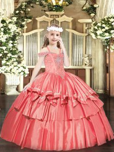 Excellent Floor Length Coral Red Child Pageant Dress Organza Sleeveless Beading and Ruffled Layers