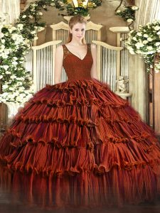 Comfortable Sleeveless Organza Floor Length Backless 15 Quinceanera Dress in Rust Red with Beading and Lace and Ruffled Layers