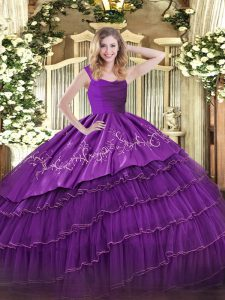 Custom Designed Sleeveless Zipper Floor Length Embroidery and Ruffled Layers Sweet 16 Dresses