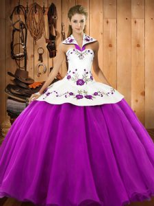 Glittering Floor Length Ball Gowns Sleeveless Fuchsia Quince Ball Gowns Lace Up