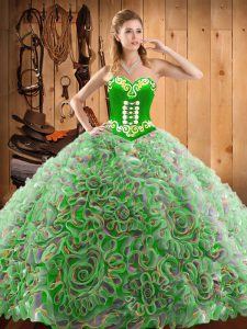 Glorious Multi-color Sweetheart Neckline Embroidery Sweet 16 Quinceanera Dress Sleeveless Lace Up