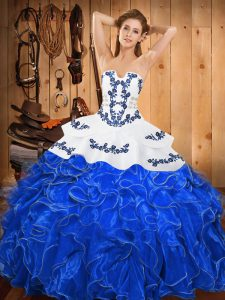 Strapless Sleeveless Lace Up Sweet 16 Dress Blue And White Satin and Organza