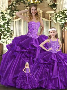 Purple Sleeveless Floor Length Beading and Ruffles Lace Up Quinceanera Dress