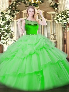 Glamorous Floor Length 15th Birthday Dress Organza Sleeveless Beading and Pick Ups
