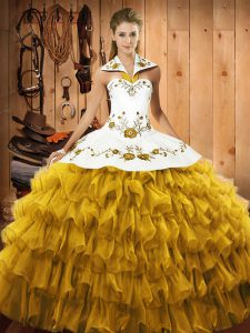 Suitable Gold Lace Up Halter Top Embroidery and Ruffled Layers Quince Ball Gowns Satin and Organza Sleeveless