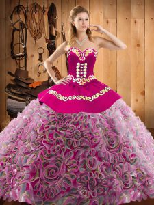 Vintage With Train Multi-color Quinceanera Gowns Satin and Fabric With Rolling Flowers Sweep Train Sleeveless Embroidery