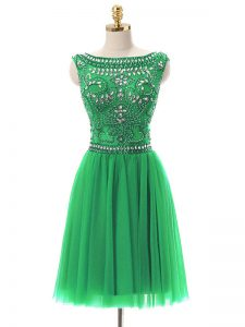 Trendy Bateau Sleeveless Zipper Prom Party Dress Green Tulle
