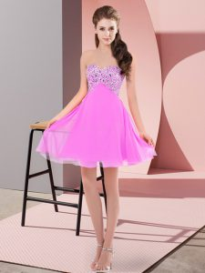 Lilac Chiffon Lace Up Evening Dress Sleeveless Mini Length Beading