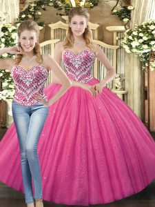 Floor Length Lace Up Ball Gown Prom Dress Hot Pink for Military Ball and Sweet 16 and Quinceanera with Beading