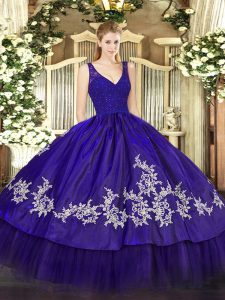 Purple Ball Gowns Beading and Appliques Ball Gown Prom Dress Zipper Taffeta Sleeveless Floor Length