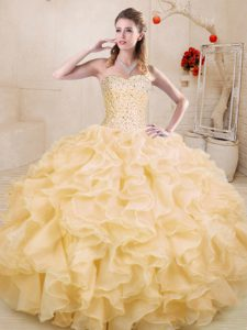 Floor Length Ball Gowns Sleeveless Gold Sweet 16 Dress Lace Up