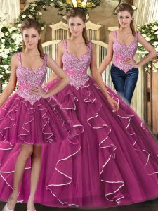 Comfortable Sleeveless Beading and Ruffles Lace Up Quinceanera Dress