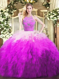 Unique Multi-color Sleeveless Tulle Zipper Sweet 16 Quinceanera Dress for Military Ball and Sweet 16 and Quinceanera