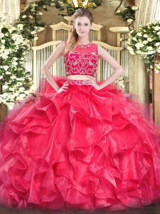 Fancy Red Sleeveless Tulle Zipper Sweet 16 Dresses for Military Ball and Sweet 16 and Quinceanera