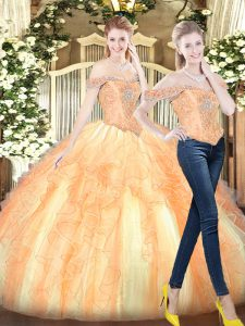 Floor Length Gold Quinceanera Gowns Off The Shoulder Sleeveless Lace Up