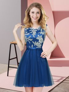 Sleeveless Tulle Mini Length Side Zipper Bridesmaid Dress in Blue with Lace