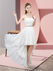 New Style High Low A-line Sleeveless White Court Dresses for Sweet 16 Lace Up