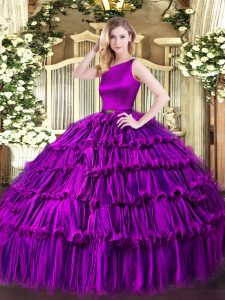 Eggplant Purple Organza Clasp Handle 15th Birthday Dress Sleeveless Floor Length Ruffled Layers