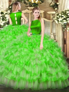 Luxurious Sleeveless Ruffled Layers Clasp Handle Quince Ball Gowns