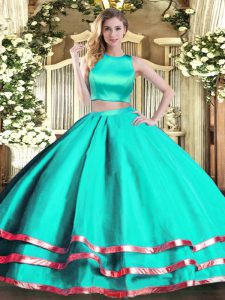 Delicate Turquoise Sleeveless Tulle Criss Cross Sweet 16 Dresses for Military Ball and Sweet 16 and Quinceanera