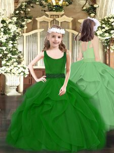 Custom Fit Floor Length Dark Green Winning Pageant Gowns Tulle Sleeveless Beading and Ruffles