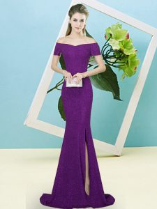 Elegant Sequins Prom Gown Dark Purple Zipper Short Sleeves Sweep Train