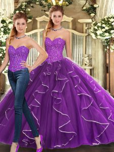 Best Selling Eggplant Purple Sweetheart Lace Up Beading and Ruffles Quince Ball Gowns Sleeveless