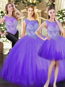 Elegant Eggplant Purple Scoop Zipper Beading Quinceanera Dresses Sleeveless
