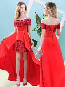 Glittering Off The Shoulder Short Sleeves Lace Up Prom Evening Gown Red Elastic Woven Satin and Sequined