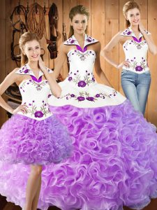 Fabulous Lilac Sweet 16 Dresses Military Ball and Sweet 16 and Quinceanera with Embroidery Halter Top Sleeveless Lace Up
