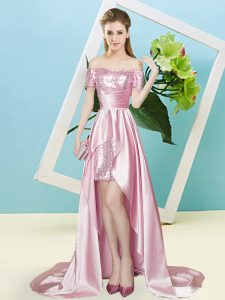 Cute Pink Lace Up Off The Shoulder Sequins Homecoming Dress Elastic Woven Satin and Sequined Short Sleeves
